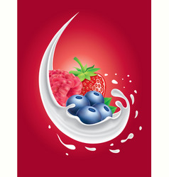 Milk splash with forest fruit strawberry vector