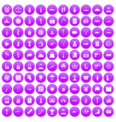100 war crimes icons set purple vector