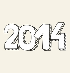 New year 2014 hand drawn doodle sign or number vector
