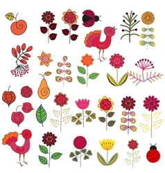 Fruits flowers and birds set vector