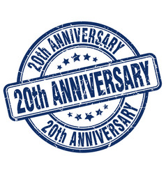 20th anniversary blue grunge stamp vector