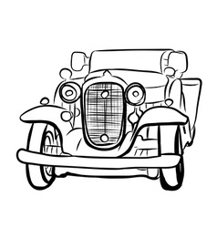 Drawing of old vintage car vector