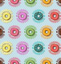 Colorful doughnut and polka dot seamless pattern vector