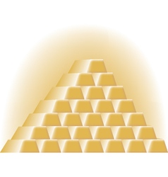 Gold bars stacked in a pyramid vector