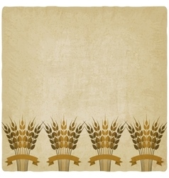 Golden sheafs of wheat with ribbons on vintage vector