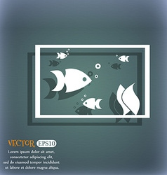 Aquarium fish in water icon sign on the blue-green vector