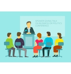 Business or policies message giving speech vector image