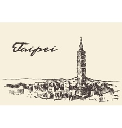 Taipei skyline taiwan hand drawn sketch vector