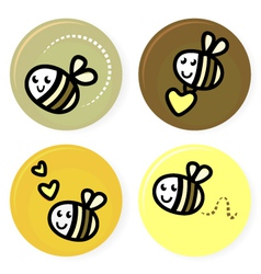 cute doodle bee collection vector image