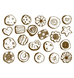 Set hand drawn cookies on white background vector