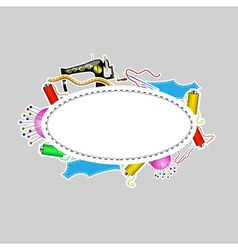 logo with objects for sewing vector image