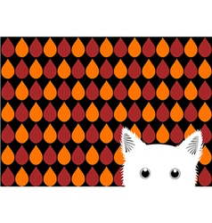 White Cat Orange Red Brown Drops Background vector image