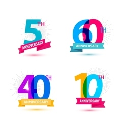 Set of anniversary numbers design 5 60 vector