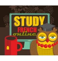 Study french advertisement vector