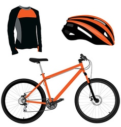 Orange bicycle helmet and shirt vector