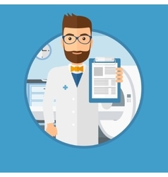 Doctor with clipboard and mri machine vector