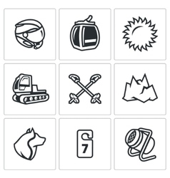 Set of ski resort icons helmet funicular vector