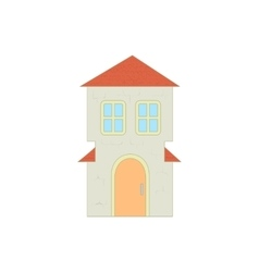 Cottage with an arched door and red roof icon vector