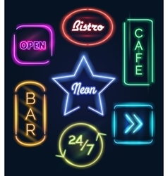 Coffee and bar neon signs vector image