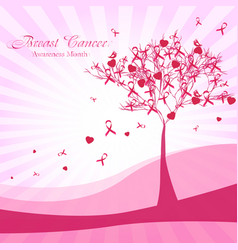 Abstract tree with pink ribbons and hearts vector