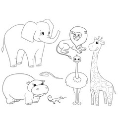 animals of africa object coloring for vector image