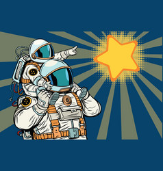 astronauts family child and father vector image vector image