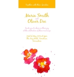 Background with red watercolor camellias vector