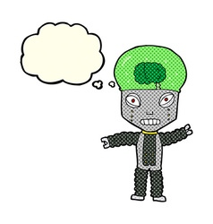 Cartoon future robot with thought bubble vector