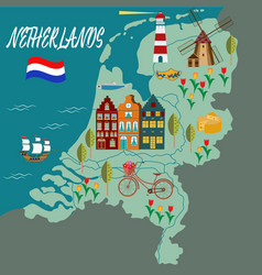 cartoon map of holland with legend icons vector image