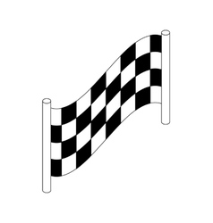Checkered flag icon isometric 3d style vector