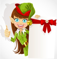 Cute girl the christmas elf with a banner for text vector