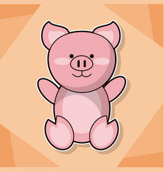 Cute piggy baby animal cartoon image vector