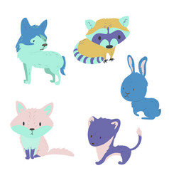 forest animals bright set vector image