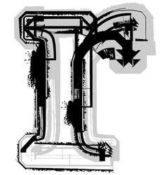 Grunge font letter r vector image vector image