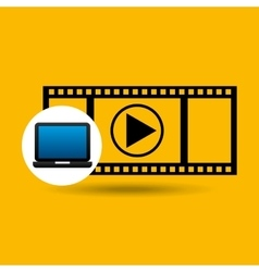 Laptop icon movie social media vector