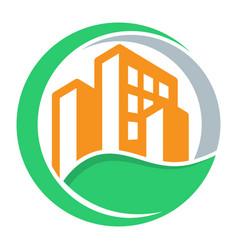 logo icon with green city concept vector image