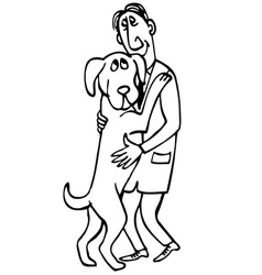 man with dog friendship vector image vector image