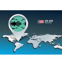 Map pin with san juan skyline vector