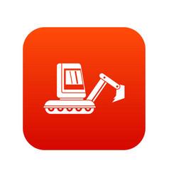 Mini excavator icon digital red vector
