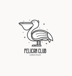 Pelican logo in thin line style vector