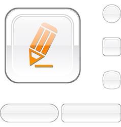 Pencil white button vector