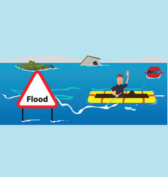 people need help of flood disaster vector image