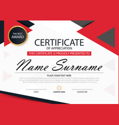 Red elegance horizontal certificate template vector