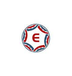 Ribbon circle star initial e vector