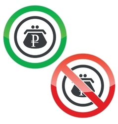 Ruble purse permission signs vector