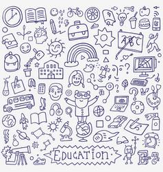 school education - doodle set vector image