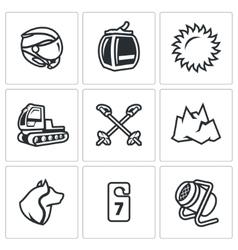 Set of Ski Resort Icons Helmet Funicular vector image vector image