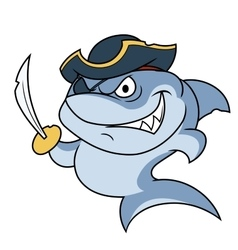 Shark pirate with sabre 2 vector image