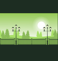 silhouette of fence and street lamp landscape vector image