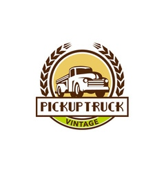 Vintage pick up truck circle wreath retro vector